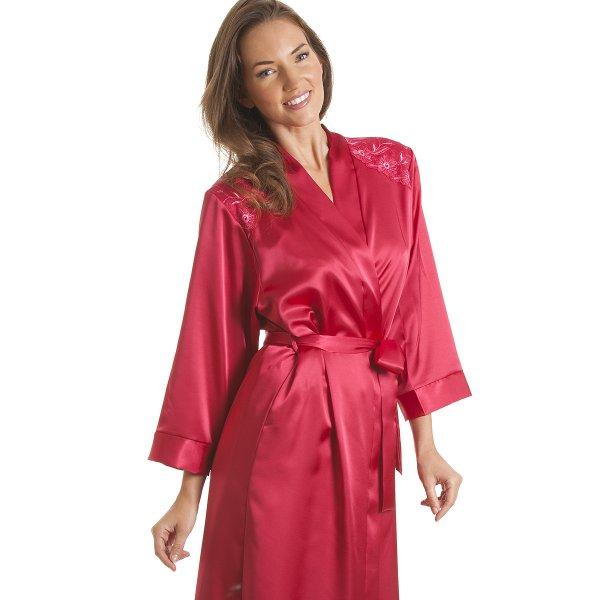 womens ladies luxury pink satin bath robe wrap sizes 10 24