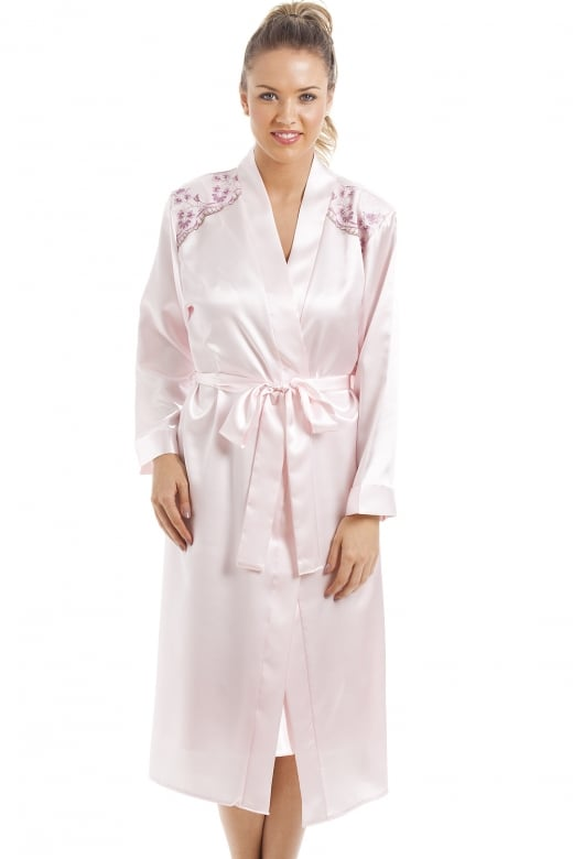 Camille Luxury Pink Satin Chemise And Wrap Set