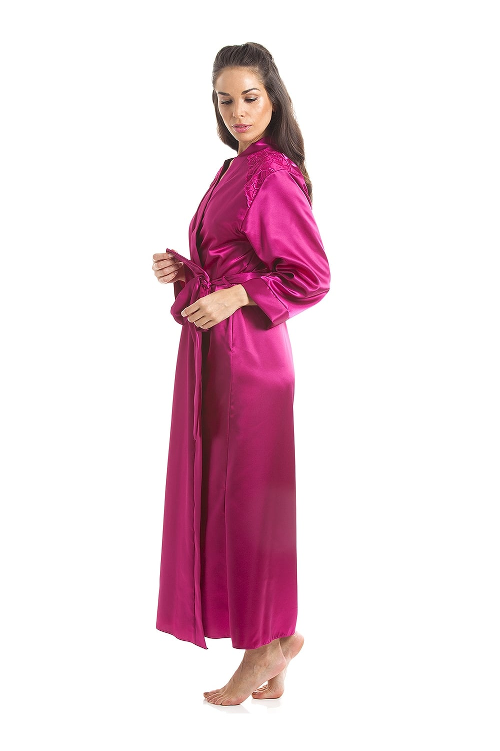 Luxury Pink Satin Long Length Dressing Gown Wrap