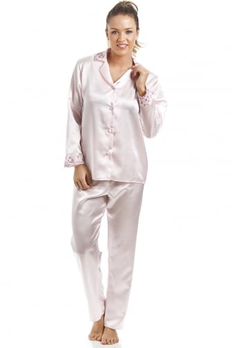 Luxury Pink Satin Pyjama Set