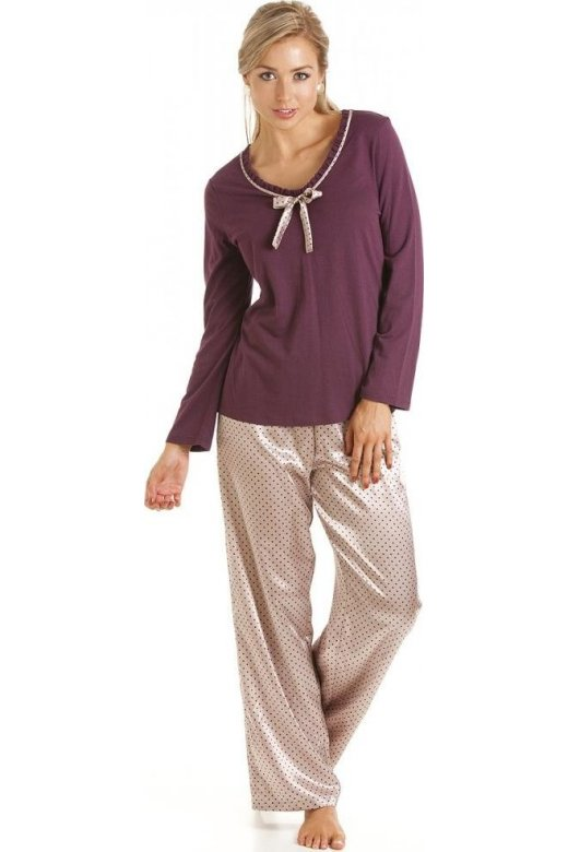 Camille Luxury Purple Cotton Modal Satin Pyjama Set