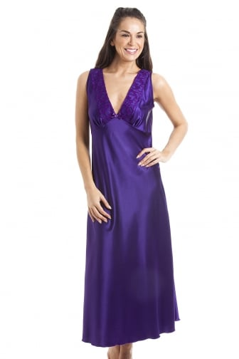 Luxury Purple Lace Satin Chemise