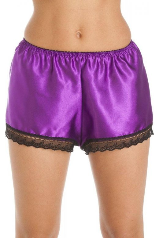 Camille Luxury Purple Satin French Knicker Shorts