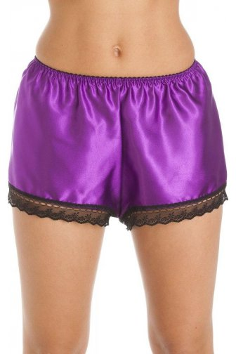 Luxury Purple Satin French Knicker Shorts