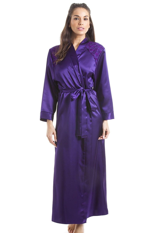 Luxury Purple Satin Long Length Dressing Gown Wrap