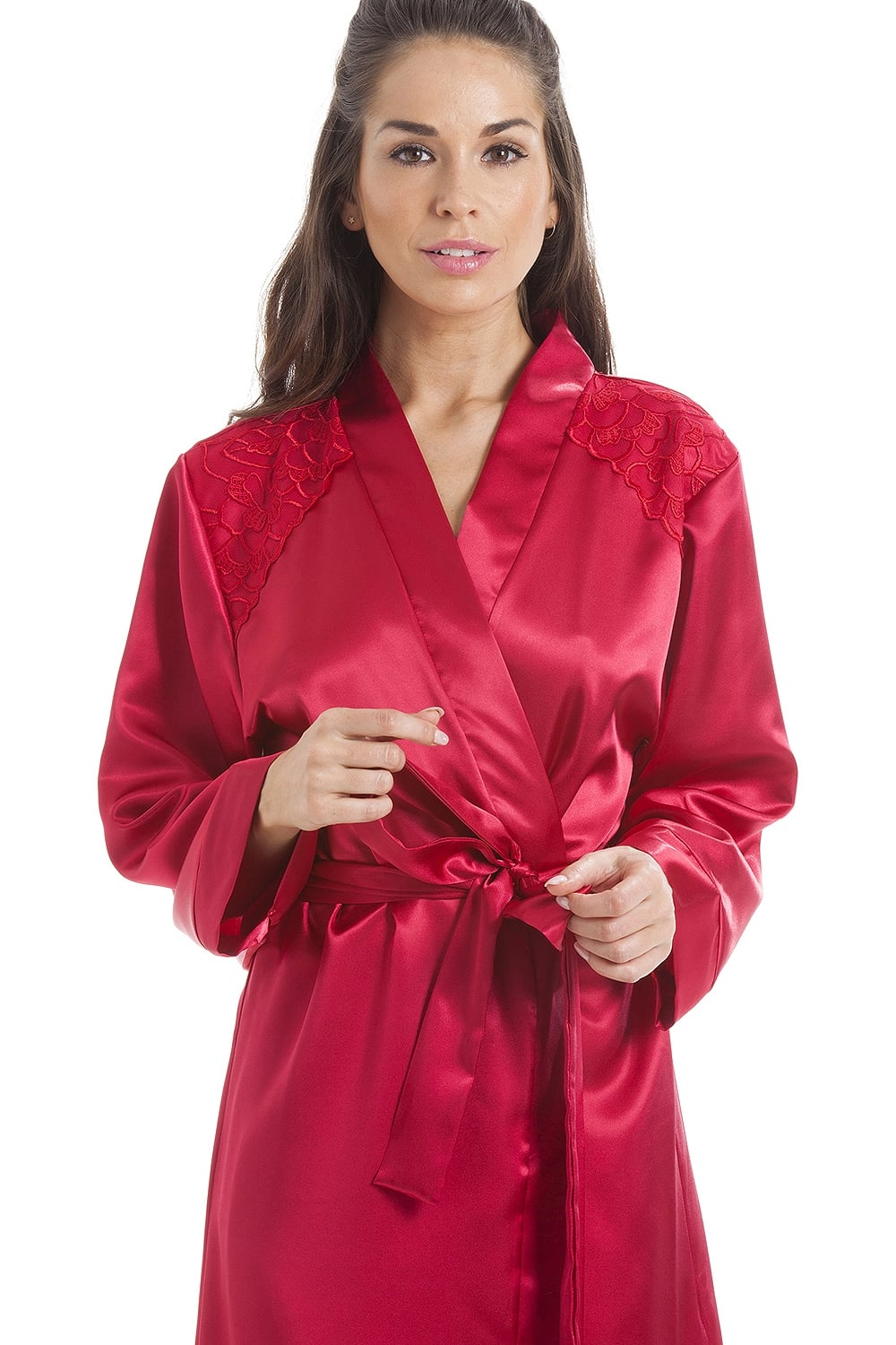 Camille Luxury Red Satin Long Length Dressing Gown Wrap 6749f28c7