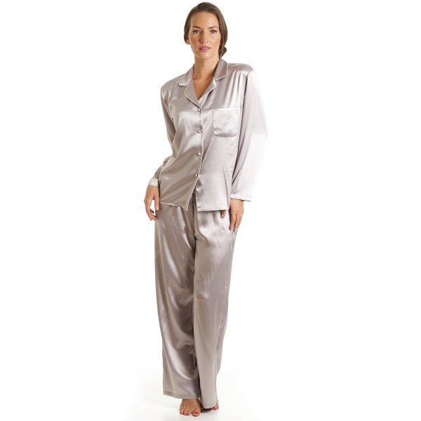 Luxury Satin Full Length Silver Grey Pyjama Set a8f3df49b