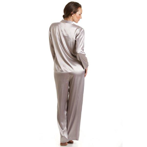 Camille Luxury Satin Full Length Silver Grey Pyjama Set 591cf0458