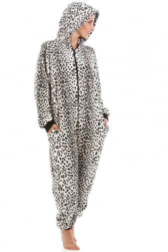 Luxury Supersoft Grey Snow Leopard All In One Onesie