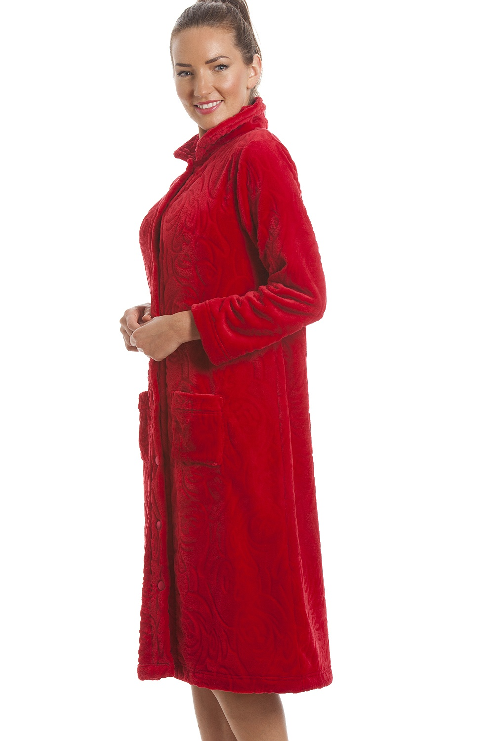 6dfc18e8d7 Camille Luxury Supersoft Red Button Up Fleece Housecoat