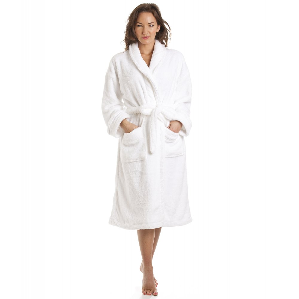 Bathrobe: Luxury Supersoft White Shawl Bathrobe
