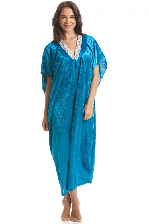 Camille Luxury Velour Aqua Blue Kaftan