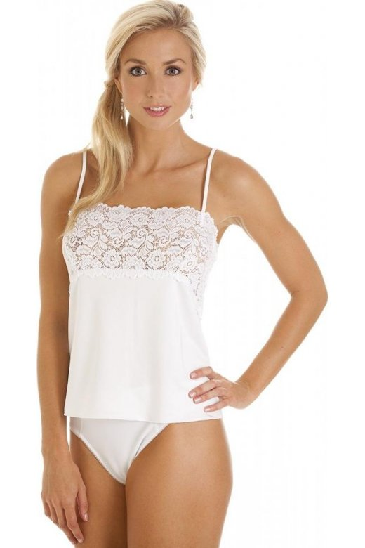 Camille Luxury White Camisole Lace Trim Top