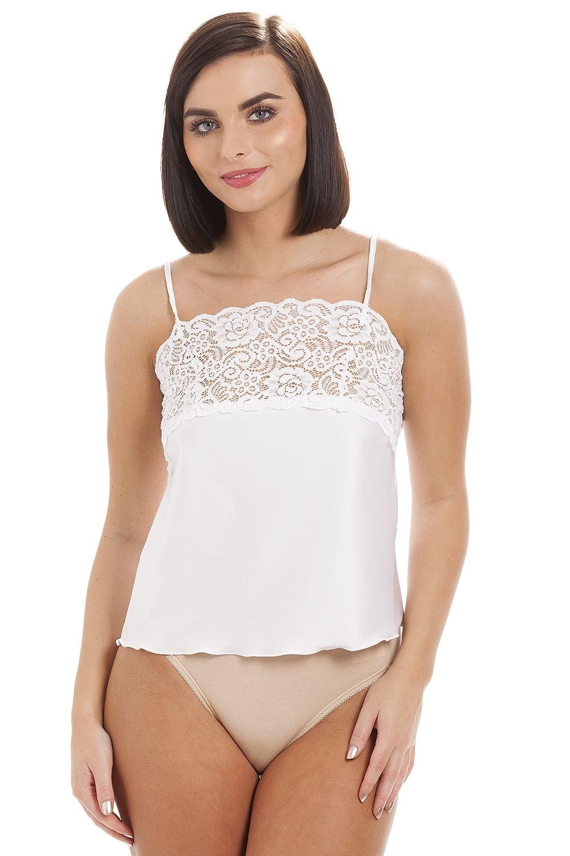 Ladies Camille White Lingerie Luxury Camisole Lace Trim ...