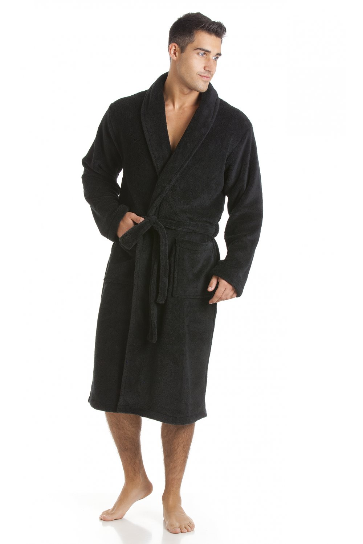 Mens Black Fleece Dressing Gown