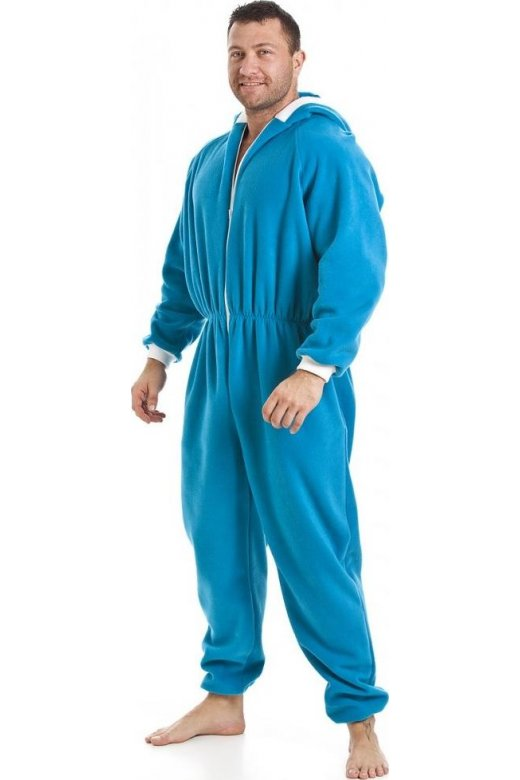 Camille Mens Blue All In One Fleece Hooded Pocketed Pyjama Onesie