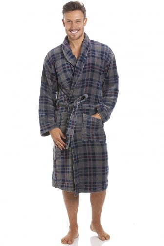 Mens Blue Supersoft Fleece Grey & Navy Check Shawl Collar Bathrobe