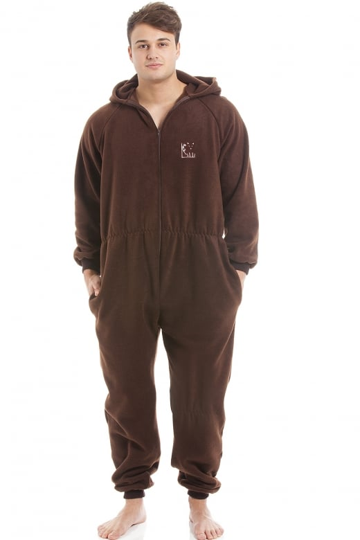 Camille Mens Brown Supersoft Fleece Zip Front Hooded Onesie