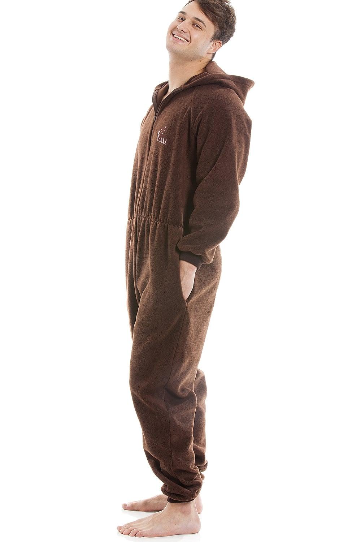 b8044776300b Camille Mens Brown Supersoft Fleece Zip Front Hooded Onesie