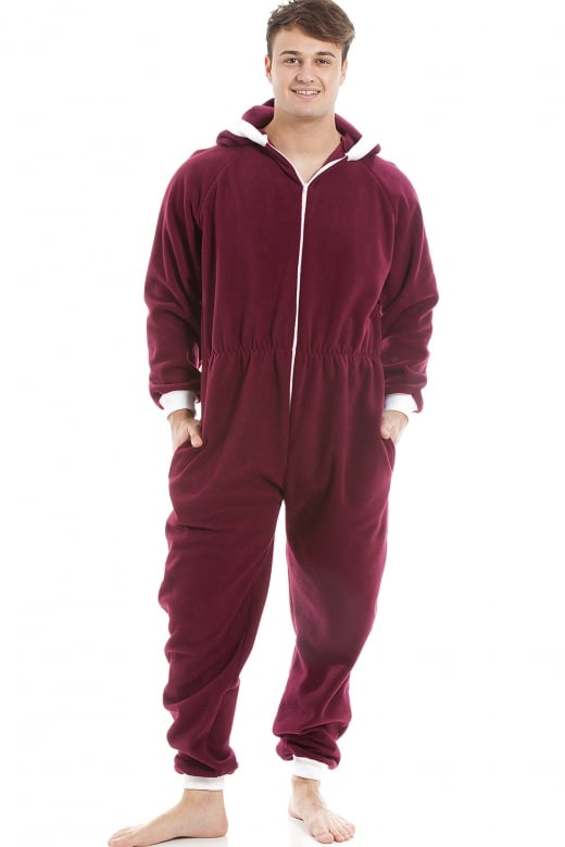 Camille Mens Burgundy Red Supersoft Fleece Zip Front Hooded Onesie