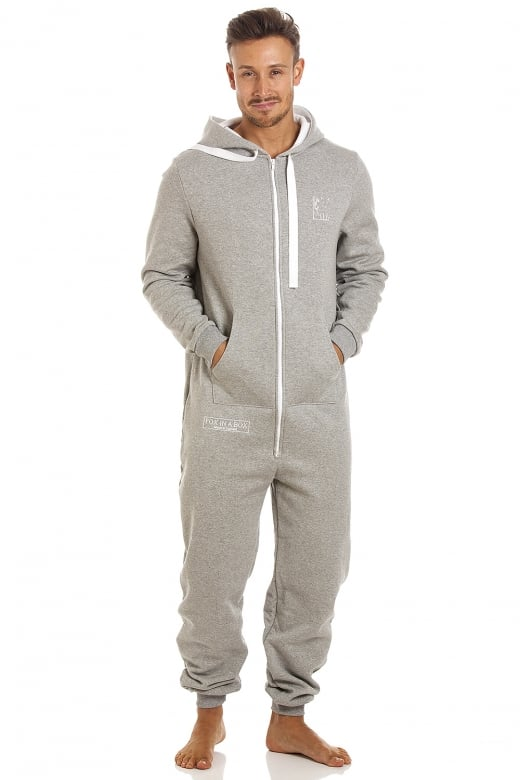 Camille Mens Fox In A Box Unisex Grey Hooded Onesie Jumpsuit