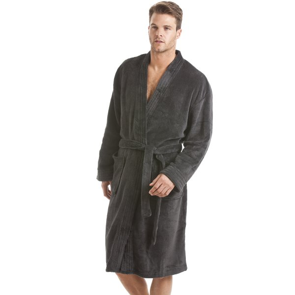 Mens Grey Fleece Dressing Gown