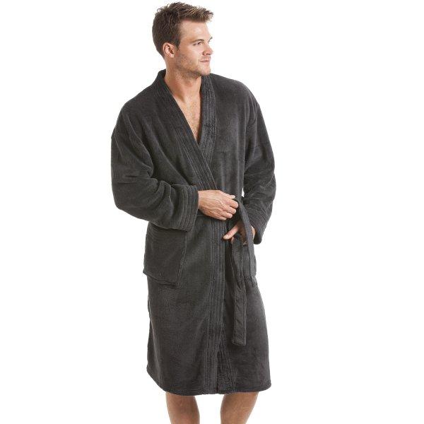 Mens Grey Fleece Dressing Gown