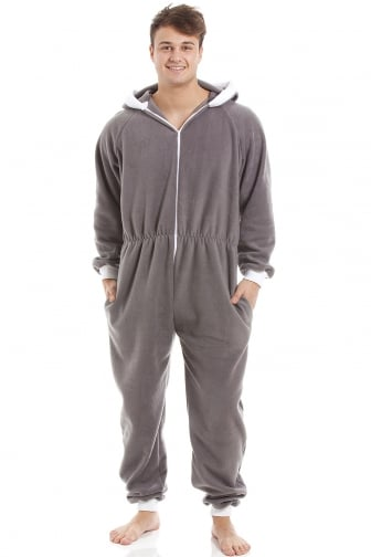 Mens Grey Supersoft Fleece Zip Front Hooded Onesie