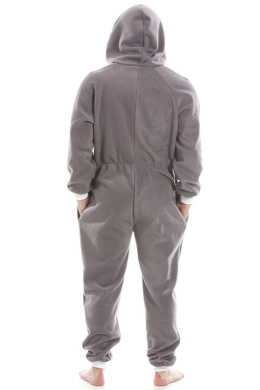 a1da377188 Mens Grey Supersoft Fleece Zip Front Hooded Onesie