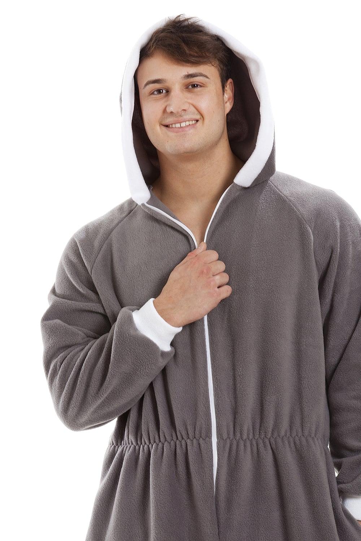 fc576d0afc Camille Mens Grey Supersoft Fleece Zip Front Hooded Onesie