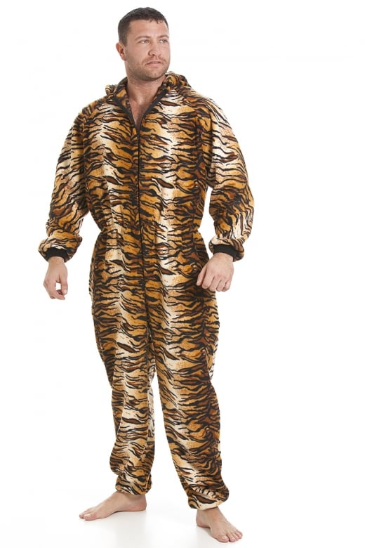 Camille Mens Luxury Gold And Brown Tiger Print Hooded All In One Onesie Pyjama