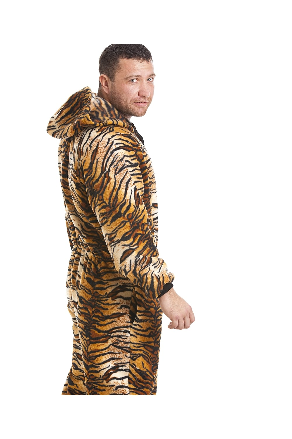 Camille Mens Luxury Gold And Brown Tiger Print Hooded All In One Onesie  Pyjama cd937bbd9