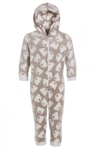 Mink Super Soft Fleece Knitted In Bear Design Hooded Childrens Onesie