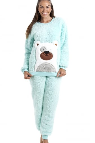 Camille Mint Green Soft Fluffy Bear Pyjama Set