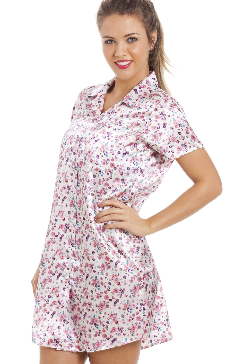Camille Multi-Coloured Floral Print Knee Length Ivory Satin Nightshirt aa799a98f
