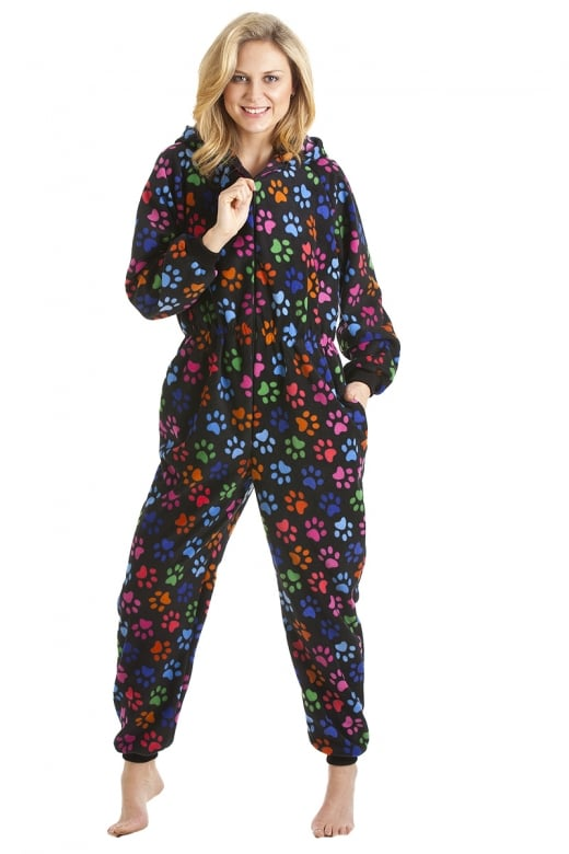 Camille Multi-Coloured Paw Print Black All In One Onesie Pyjama