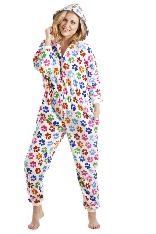 Camille Multi-Coloured Paw Print White All In One Onesie Pyjama