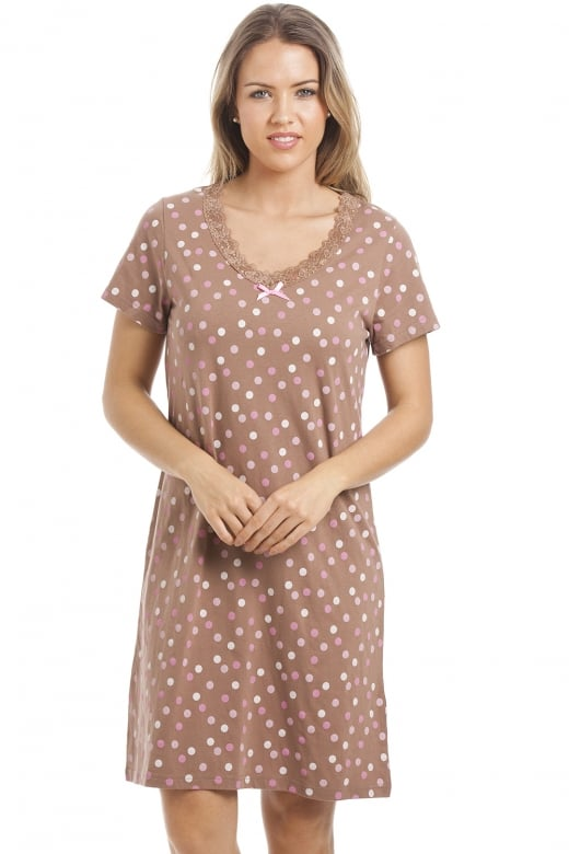 Camille Multi Coloured Polka Dot Light Brown Cotton Nightdress