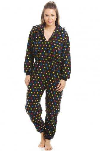 Multi-Coloured Spot Print Hooded All In One Pyjama Onesie
