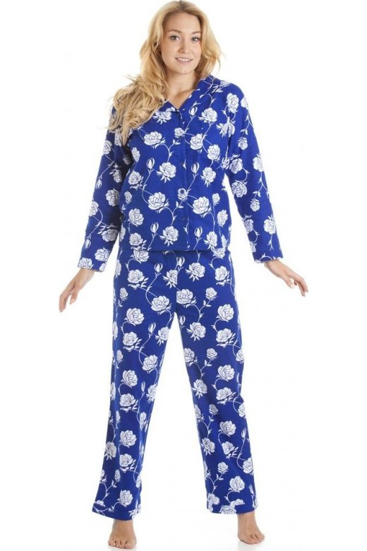 Camille Navy Blue And White Floral Print Wincy Full Length Pyjama Set