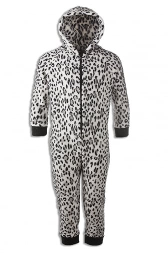 Camille New Edition Childrens Soft Fleece Snow Leopard All In One