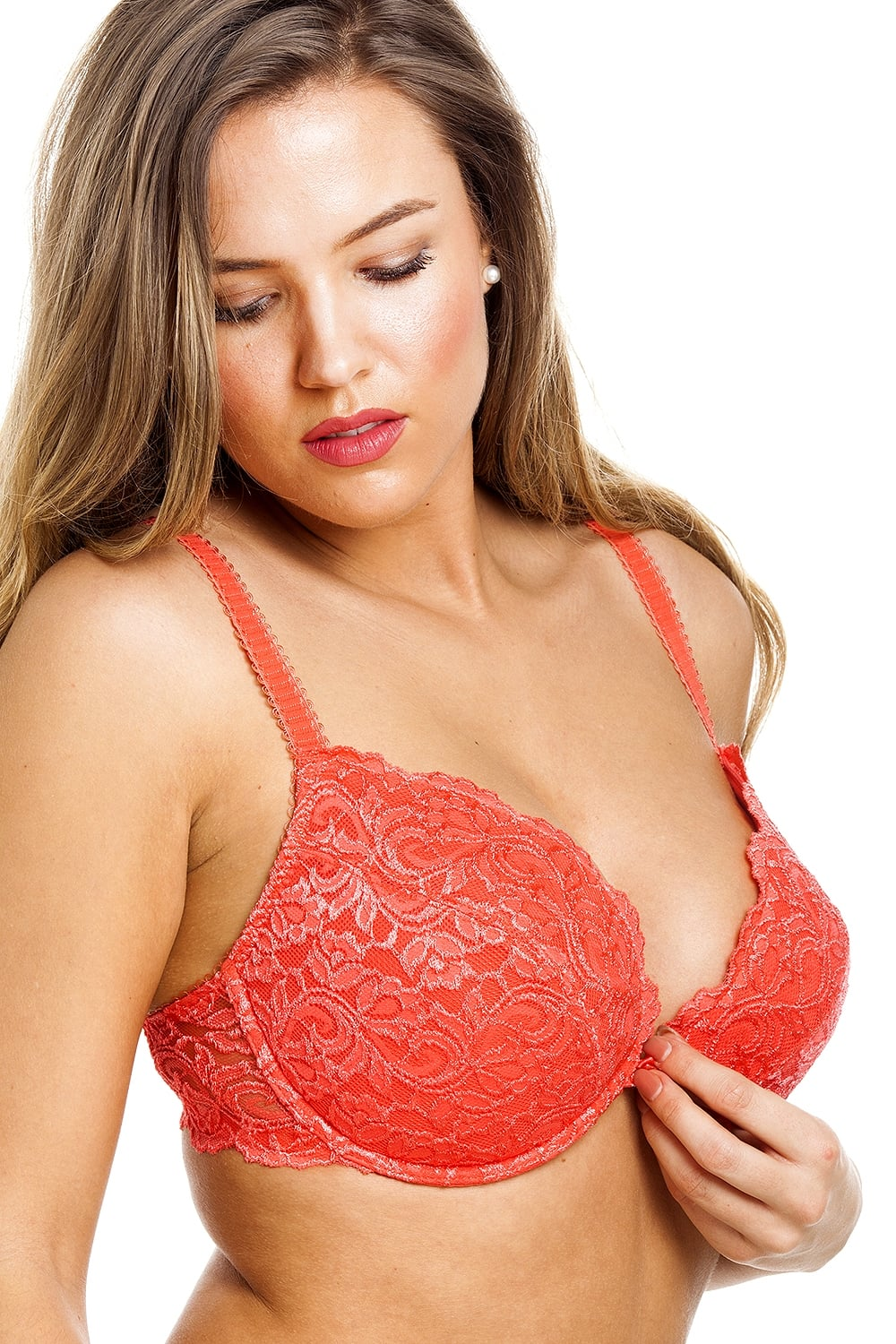 e43581c7d3d Camille Womens Ladies Tangerine Push Up Plunge Padded Underwired Bra ...