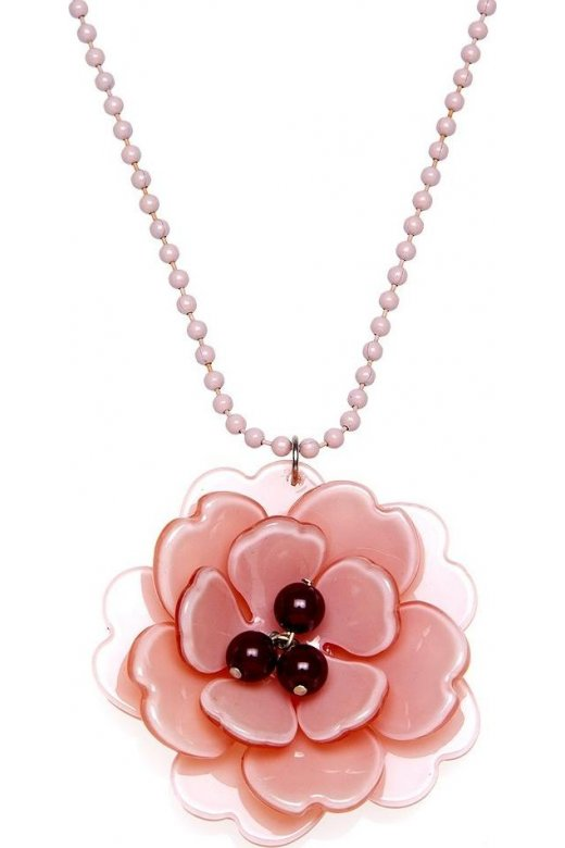 Camille Peach And Burgundy Flower Necklace
