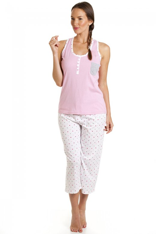 Camille Pink And White Polka Dot Cropped Pyjama Set