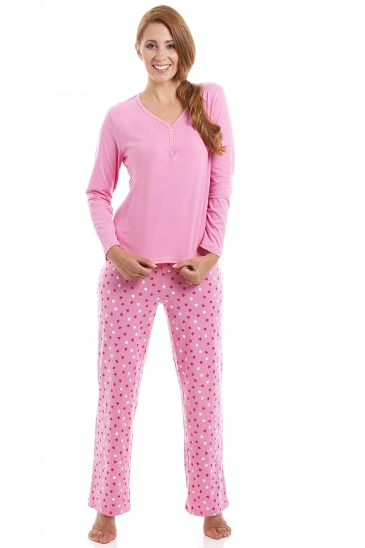 Camille Pink Cotton Star Print Full Length Pyjama Set