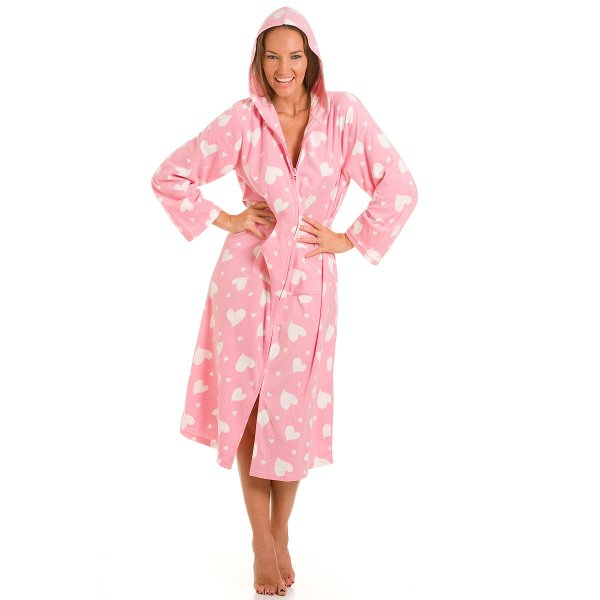new ladies camille pink heart print long zip up hooded. Black Bedroom Furniture Sets. Home Design Ideas