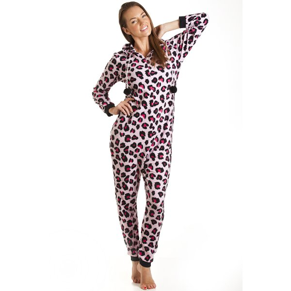 0a051d872d Camille Pink Leopard Print Fleece Hooded Luxury All In One Onesie