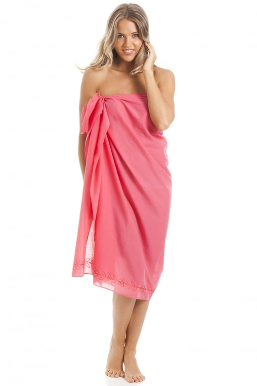 Camille Pink Long Length Sarong With Floral Embroidery