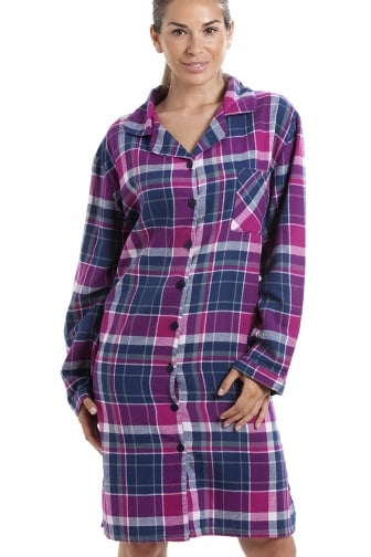 Pink & Navy Checkered Long Sleeve Button Front Wincy Nightshirt