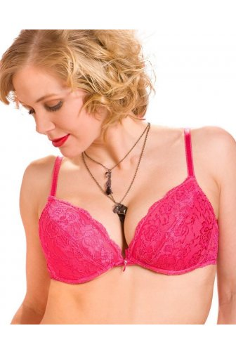 Camille Pink Padded Plunge Push Up Lace Bra